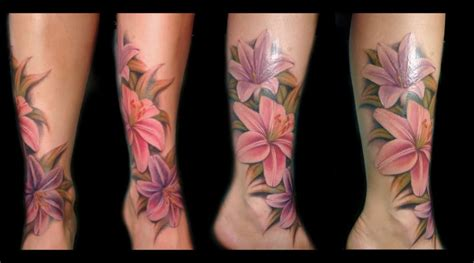 rose lily tattoo ankle with lilies