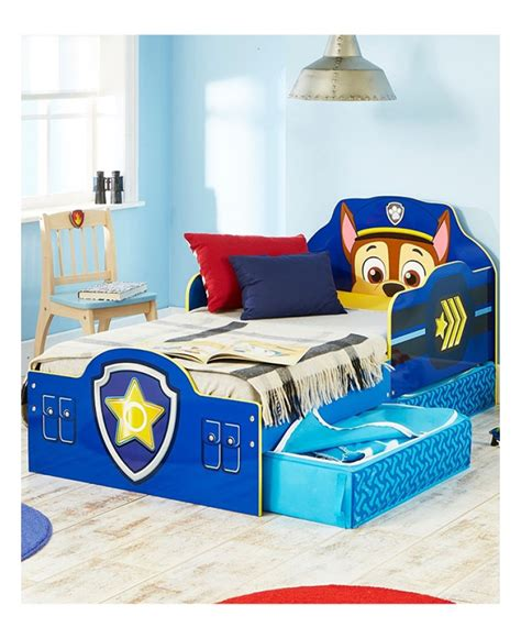 Wall Stickers For Boy Nursery paw patrol chase toddler bed with storage bedroom