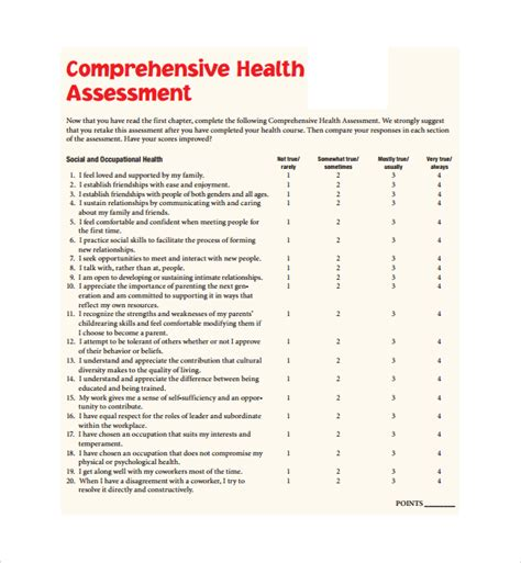 comprehensive health history template sle health assessment template 5 free documents in