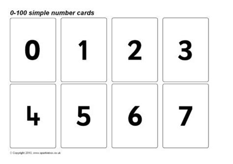 template of 0 10 cards simple 0 100 number cards sb128 sparklebox