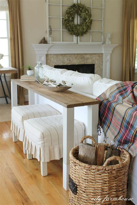 behind the sofa tables the easiest diy reclaimed wood sofa table city farmhouse