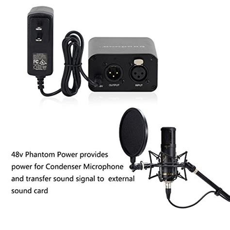 condenser microphone needs phantom power innogear 1 channel 48v phantom power supply with adapter for any condenser microphone