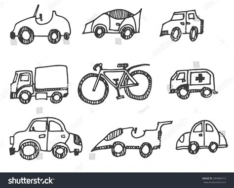 doodlebug happy cer doodle car icon set stock vector 284985413