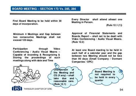 section 94 of companies act companies act 2013 icsi thrissur directors meetings