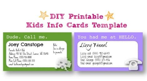 Child Information Card Template by Diy Printable Info Cards Template