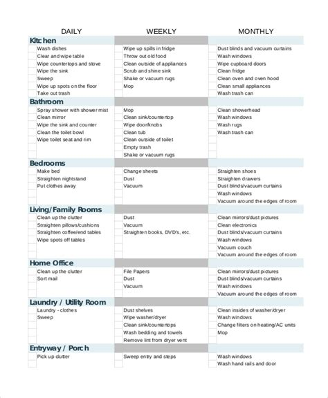cleaning house checklist house cleaning checklist 12 free pdf documents