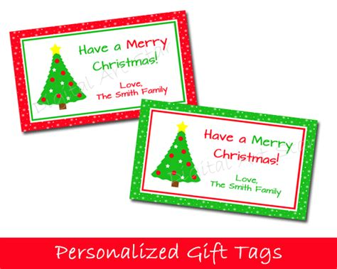 printable christmas tags customized digital art star printable party decor personalized