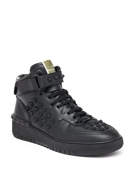 valentino sneakers mens valentino rockstud leather high top sneakers in black for