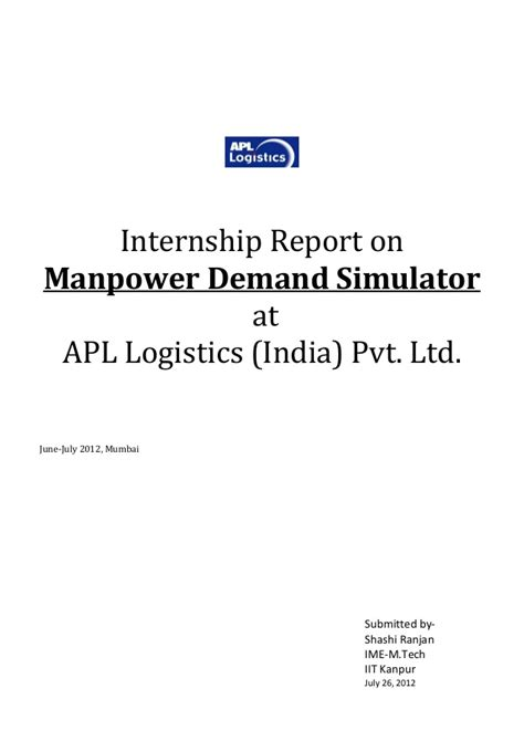 Mba Project Report On Manpower Planning by Internship Report On Manpower Demand Simulator At Apl