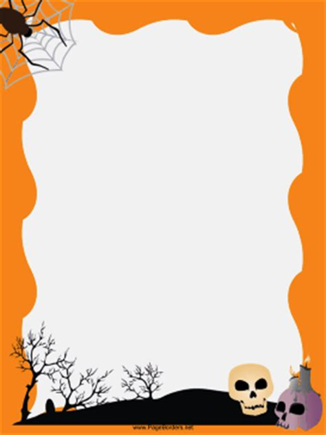 spider and skulls halloween border