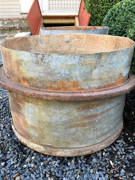 Planter Tubs by Four Pairs Of Industrial Iron Planter Tubs For Sale
