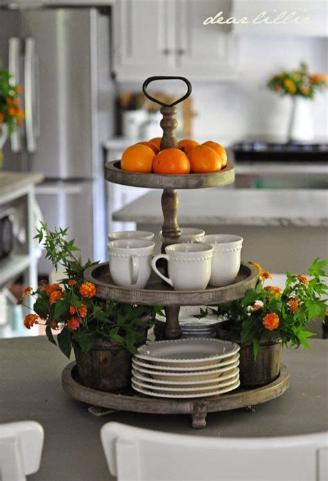 kitchen island centerpiece ideas 3 tier round display for the kitchen island decor and trays