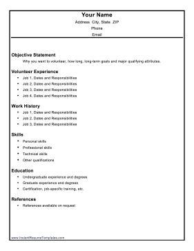 volunteer resume template