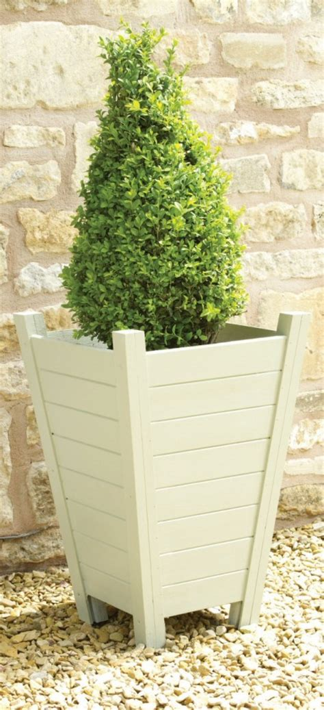 french grey wooden tall planter