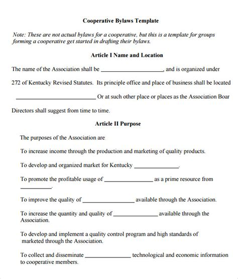 Bylaws Template free printable bylaws template tax form