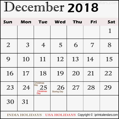 December 2018 Calendar With Holidays December 2018 Calendar With Holidays Templates Tools