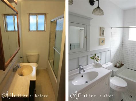 before and after bathroom remodel how sarah made her small bungalow bath look bigger