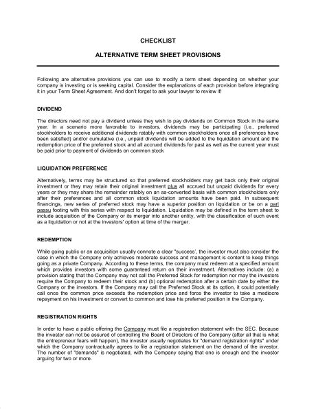 Acquisition Term Sheet Template by Checklist Alternate Term Sheet Provisions Template