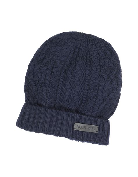 Lyst Valentino Cable Knit Wool S Hat In Blue For