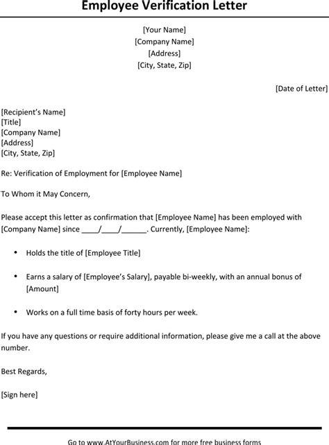 Employment Verification Letter For Us Visa Sle employment verification letter template free
