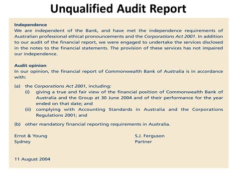 unqualified audit report sle materiality and audit reporting audit report audit opinion