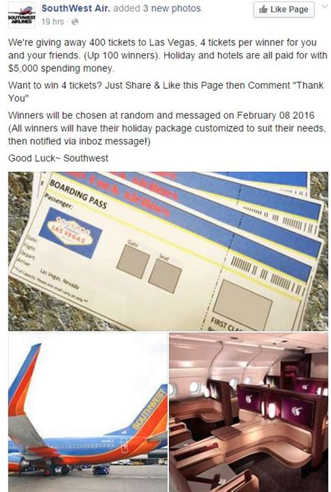 Southwest Airlines Ticket Giveaway - airline ticket giveaway scam snopes com