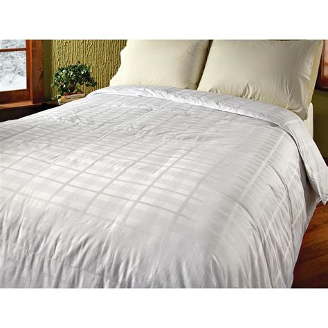 down feather comforter 320 thread count pinstripe windowpane feather down