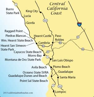 map of california coast beaches william r hearst memorial state directions mobile