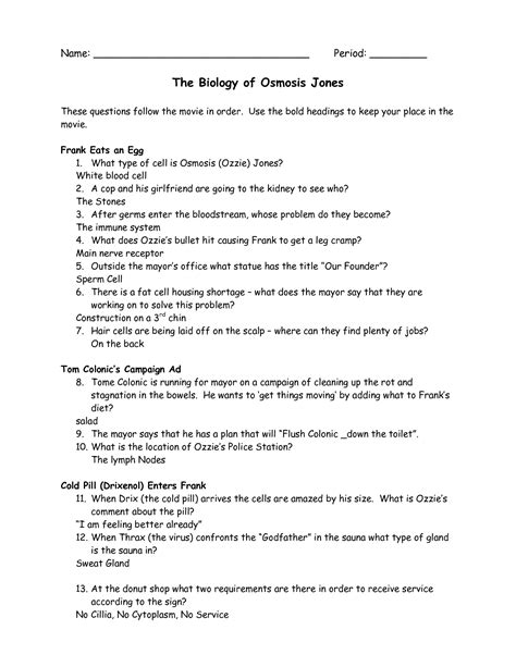 Osmosis Jones Worksheet Answers 13 best images of diffusion worksheet key osmosis and