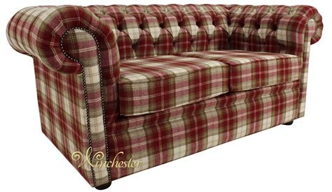 Chesterfield Arnold Wool 2 Seater Sofa Settee Fernie Red Tweed Chesterfield Sofa