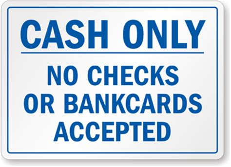 That Dont Background Check Customer Sign No Checks Credit Cards Accepted Sign Sku S 7387