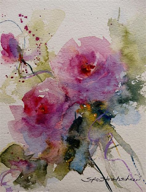 quot paper roses quot transparent watercolor l strohschein original sold paintings i
