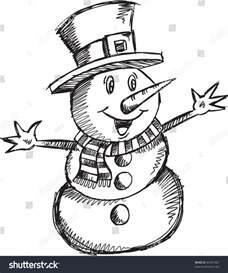 doodle sketching doodle sketch snowman vector stock