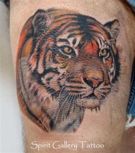 tiger cross tattoo realistic tiger on thigh picture at