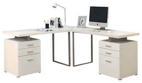 Monarch Specialties I 7027 3 White 3 Piece Hollow Core L White L Shaped Computer Desk