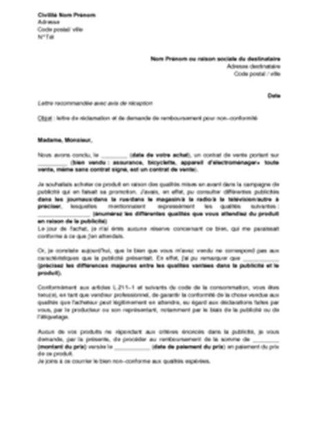 Demande De Promotion Lettre Lettre De R 233 Clamation Et De Demande De Remboursement Pour Non Conformit 233 Du Produit 224 La