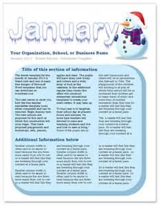 January Preschool Newsletter Template by January Newsletter Template By Worddraw