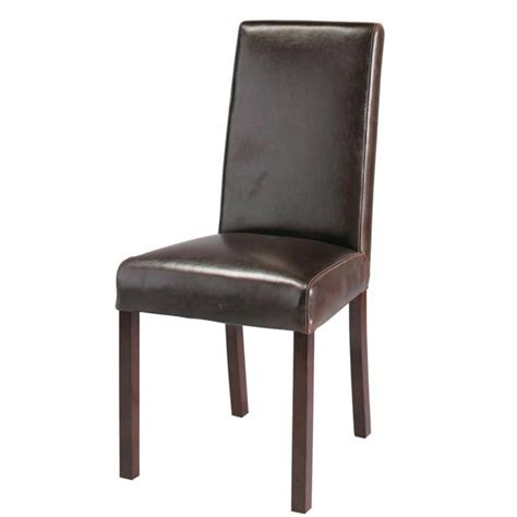 Wood Leather Chair by Leather And Wood Chair In Brown Harvard Maisons Du Monde