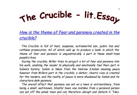 themes in crucible act 1 how is the theme of fear and paranoia created in the