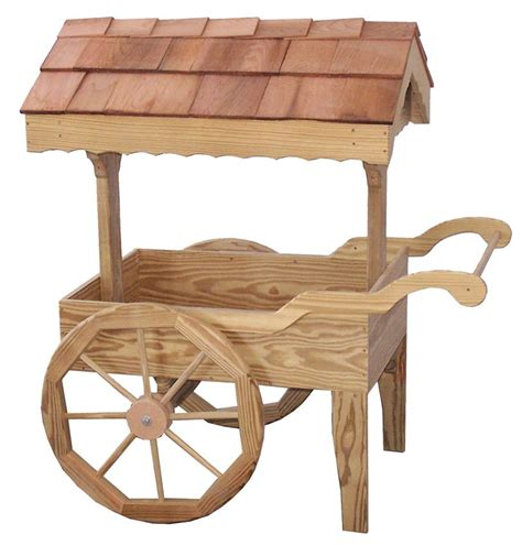 Wooden Cart Planter amish outdoor garden cart