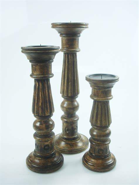 Rustic Candle Holders Shabby Chic White Brown Rustic Carved Pillar Candle