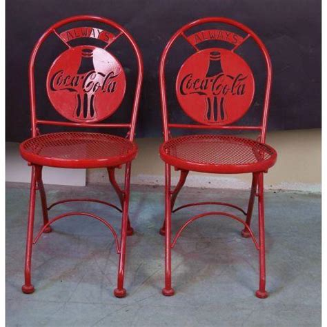 coca cola chairs lot of 2 coca cola metal die cut tin chairs