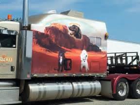 strange semi truck custom paint sleeper cab depicts