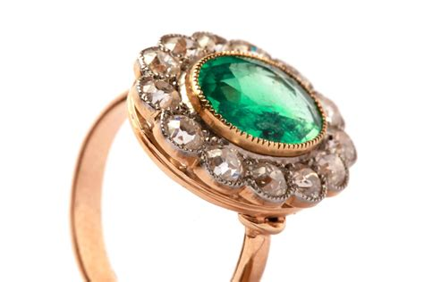 antique emerald gold platinum ring for sale at 1stdibs