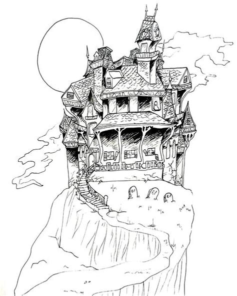 scary haunted house coloring pages spooky scary haunted house coloring page favecrafts
