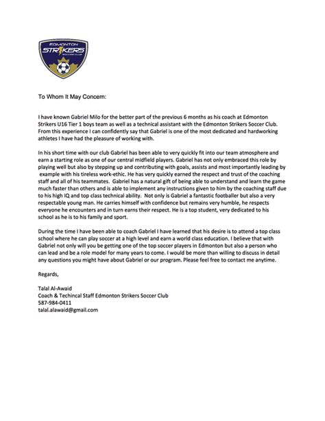 Reference Letter For Coaching Captainu Profile