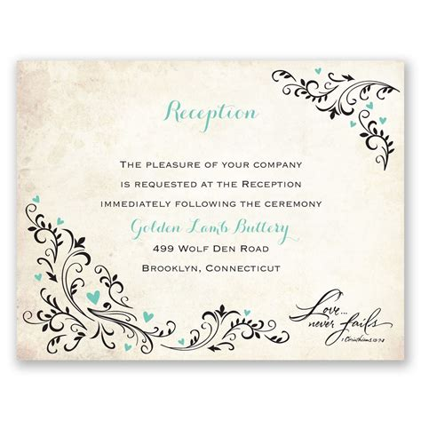 wedding reception invite sles blossoming reception card s bridal bargains