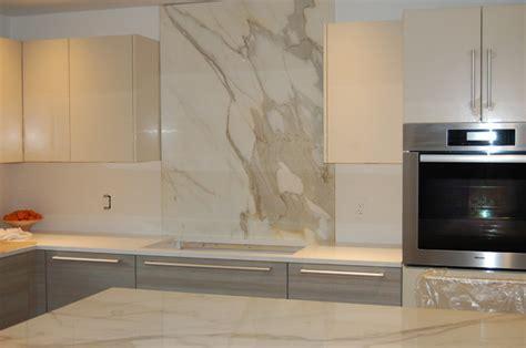 Marble Backsplash Kitchen calacatta gold island and full height back splash