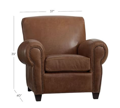 manhattan leather recliner manhattan leather recliner with nailheads pottery barn