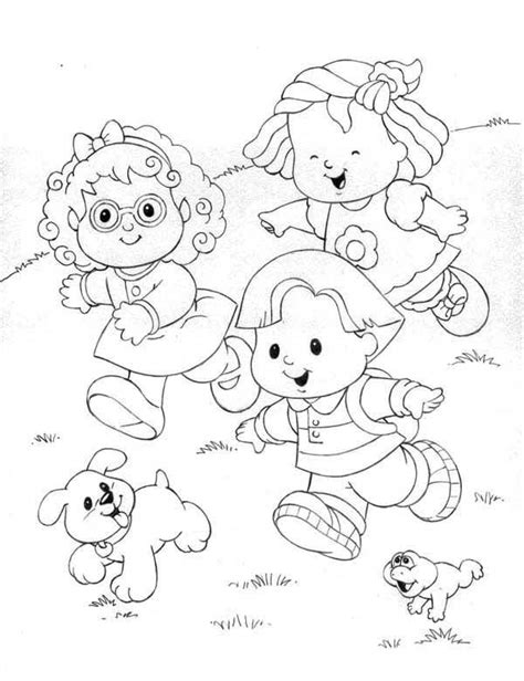 little people standing between flowers coloring pages